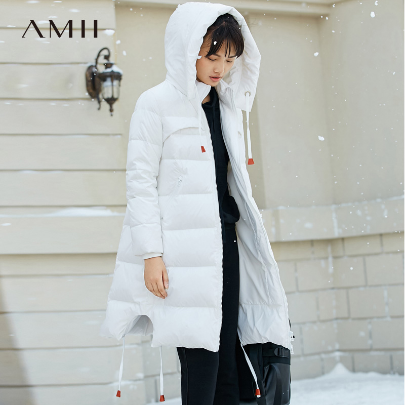 Amii Minimalist 2018 Women 90 White Duck Down Coats Loose Knee Length Padded Jacket with Hooded