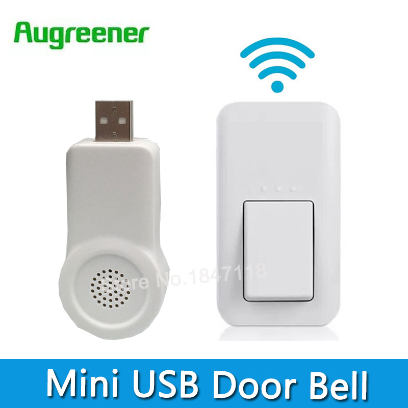 Mini USB No Battery Need Wireless DoorBell 433MHz 38 Chimes Doorells Waterproof Door bell 220V With 1 Button + 1 Receiver awei t2 wireless bluetooth earphone tws stereo headset cordless ecouteur for phone auriculares with microphone bluetooth v4 2