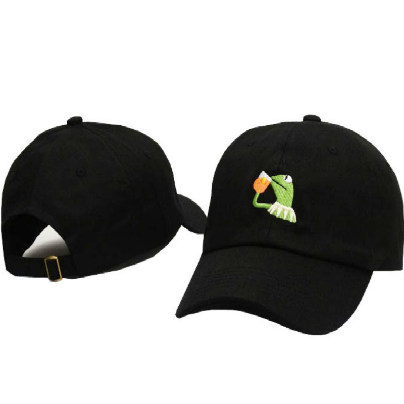 Embroidered Kermit Beer Dad Hat For Women Kermit None of my Business Baseball Cap Hip Hop Cotton Adjustable Sad Pepe Dad Hat Men(China)