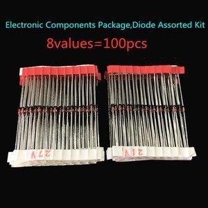 1N4148 1N4007 1N5819 1N5399 1N5408 1N5822 FR107 FR207,8values=100pcs,Electronic Components Package,Diode Assorted Kit