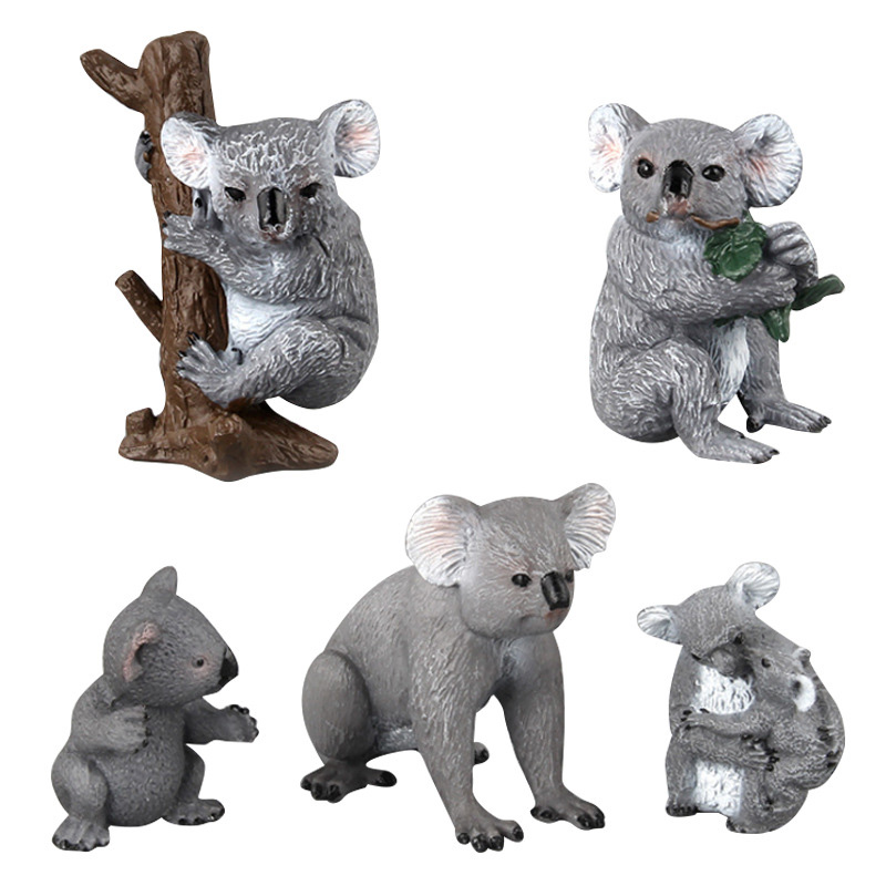 5 Kinds Simulation Cute Koala Figure Collectible Toys Koala Animal Action Figures Kids Wild Animal Toys