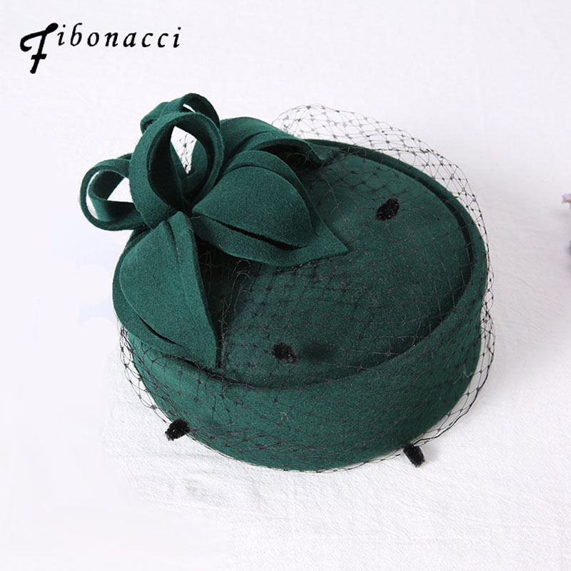 Fibonacci 2017 New Wedding Fedora Hat Wool Felt Beret Performance Ceremonial Banquet Wedding Dress Headdress Cap in Women 39 s Fedoras from Apparel Accessories