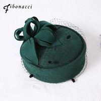Fibonacci 2017 New Wedding Fedora Hat Wool Felt Beret Performance Ceremonial Banquet Wedding Dress Headdress Cap