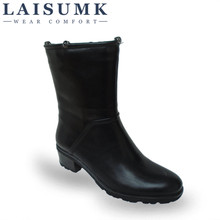 2017 LAISUMK Women Leather Mid Calf Boots Woman Autumn Winter Warm Square Heel Work Boots Ladies