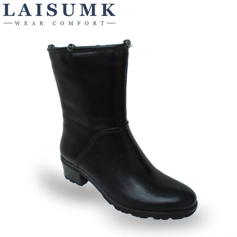 2017 LAISUMK font b Women b font Leather Mid Calf Boots Woman Autumn Winter Warm Square