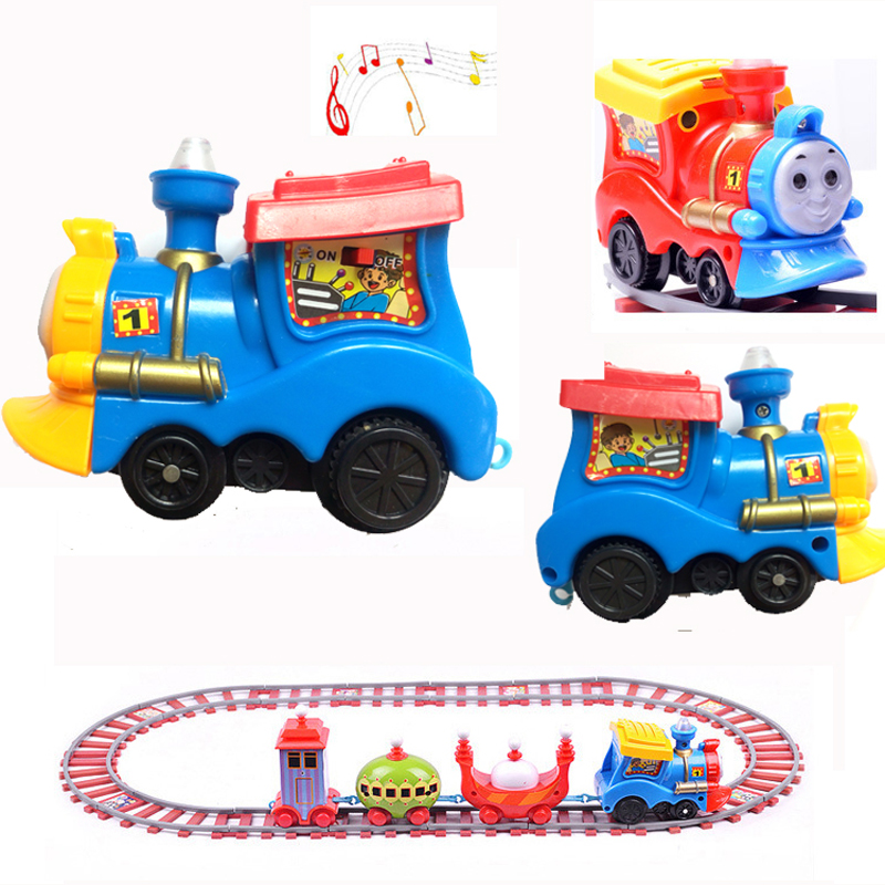 Cartoon slot train toys with music Kids Classic toys Train Model Toy Electric Train Rail car toy Brinquedos Gifts for Children