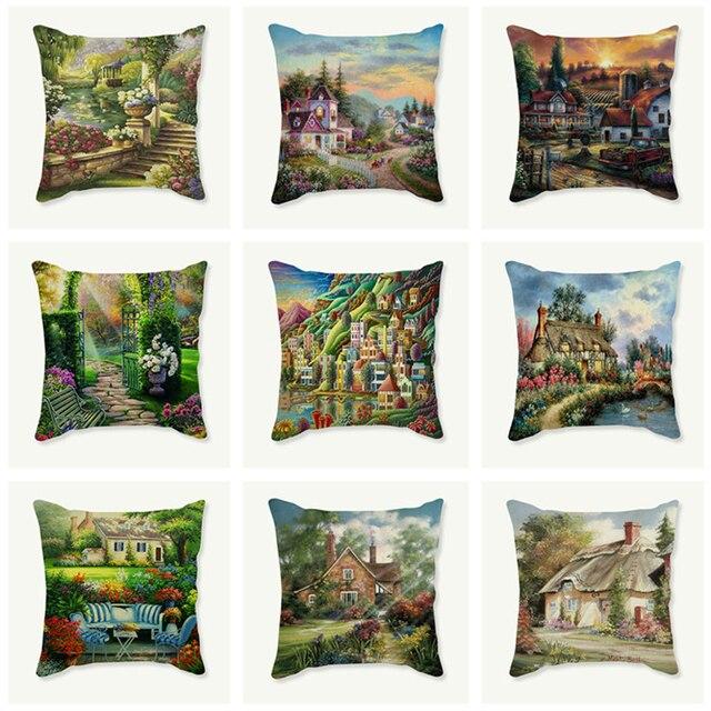 Cottage Villa Landscape Cushion Cover 40x40 Pillowcase Decorative Simple Villa Decorative Pillows