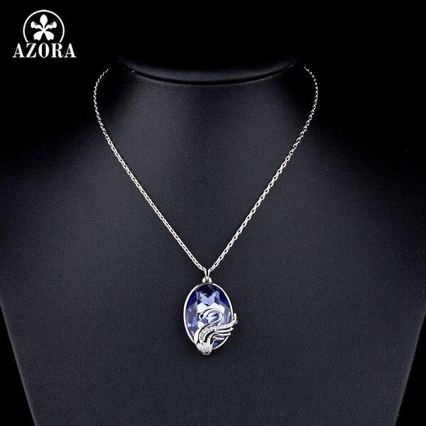 AZORA cygnes mouche bleu ciel couleur or blanc Stellux collier pendentif Ellipse cristal autrichien TN0042