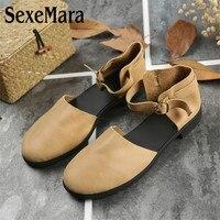 SexeMara Luxury Handmade design Women Genuine Leather Shoes Driving Pregnant Comfortable wear Ladies soft female flat Shoes