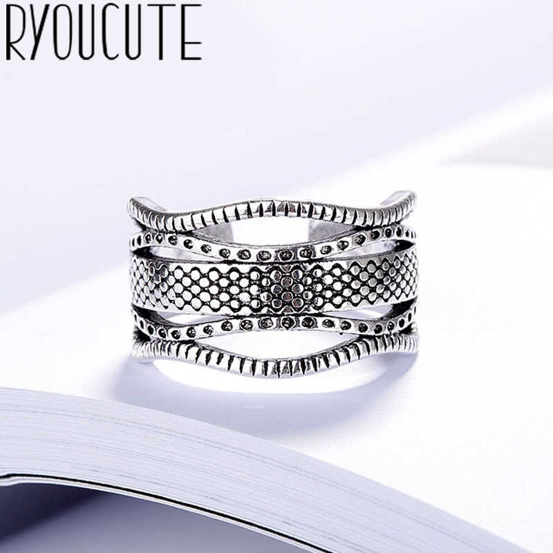 Personality Bohemian New 925 Sterling Silver Big Rings for Women Gift Adjustable Size Antique Ring Wedding Jewelry Wholesale