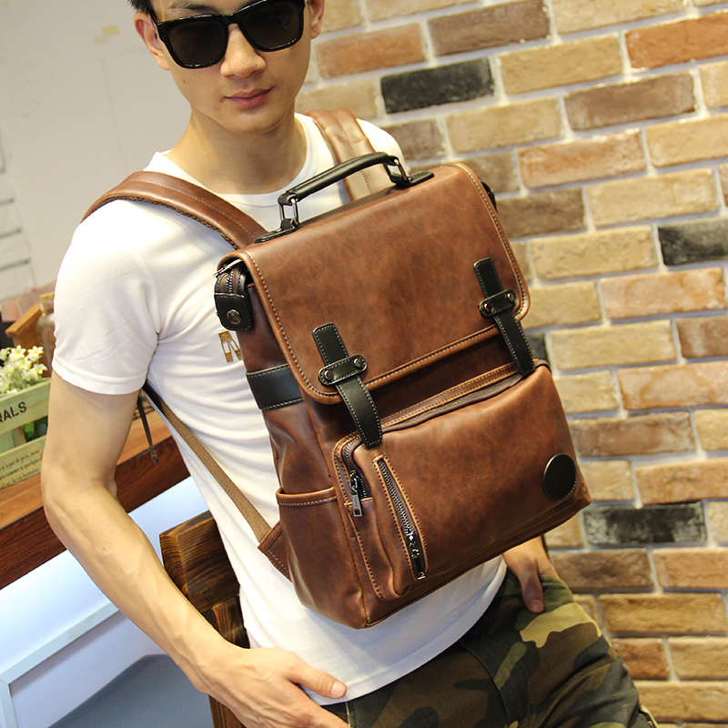 Hot Sale Crazy Horse PU Leather Backpacks Western Style Fashion Bag For Men Laptop & Cas ...