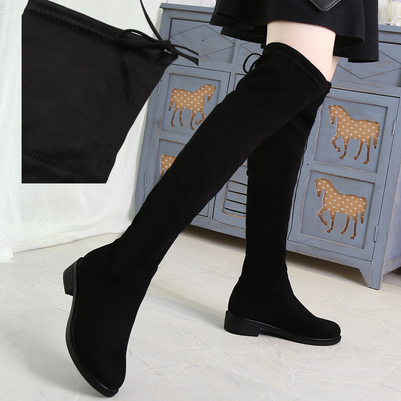 Jookrrix 2017 Autumn Winter Fashion Women Boots Flock Lady All-match Shoes Over-the-Knee Black High Top Bow Female Elasticity the explosion of the classic all match solid colored body hip high elastic denim pants feet female winter bag mail