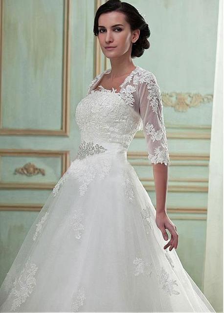 Branco Marfim Frisada Applique Mangas Meia Bolero novia Laço Do Casamento Bolero Acessórios Do Casamento Custom made