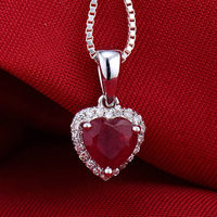 Heart Pendant Solid 14K White Gold Diamond Red Ruby Female Pendant Hot Sale Fine Jewelry for Girlfriend Anniversary Jewelry Gift