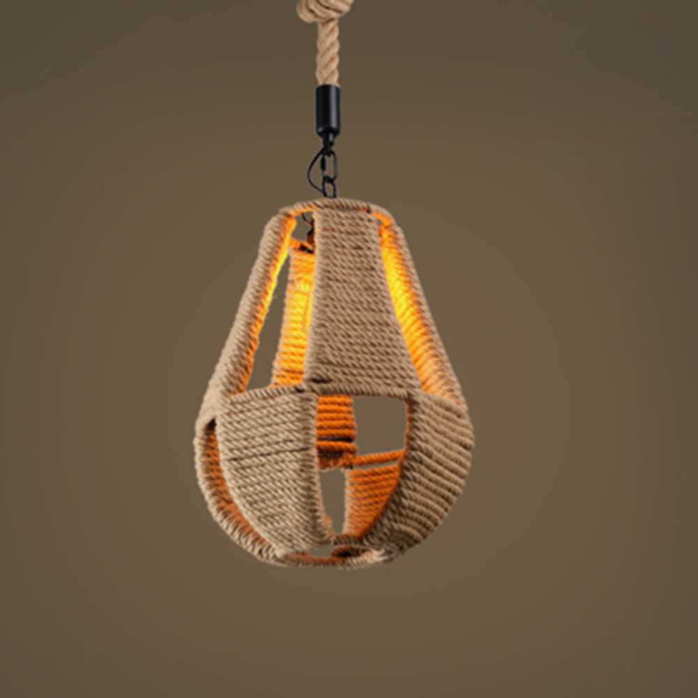 Retro Pendant Lights Hemp Rope Lamps Country Vintage