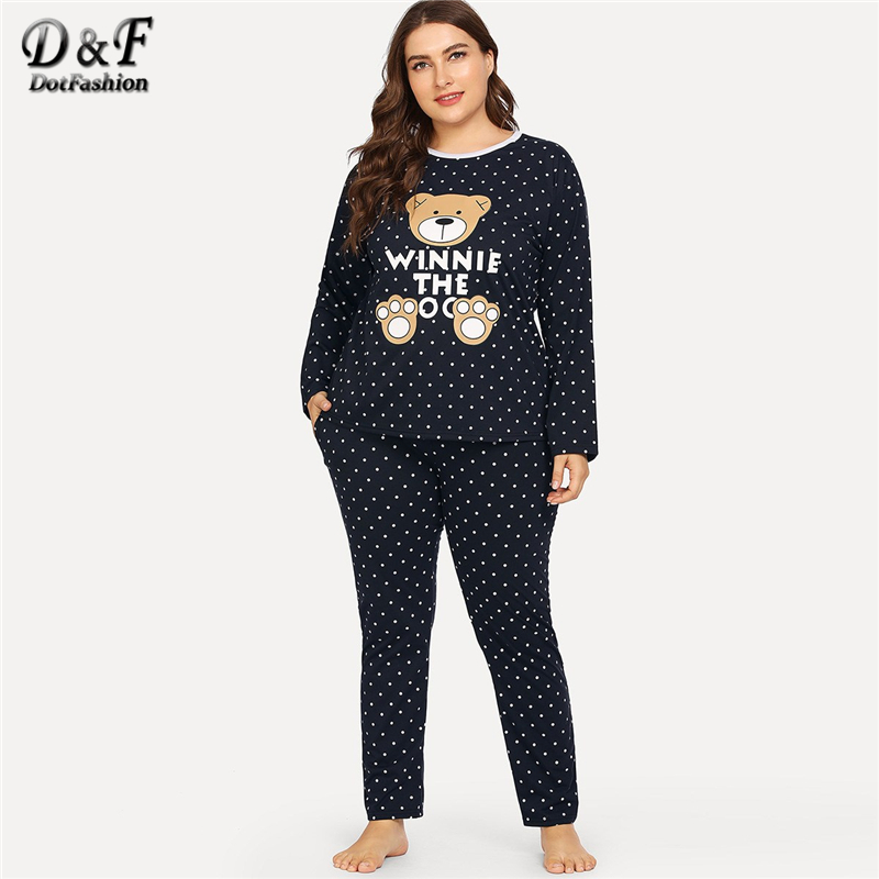 Dotfashion Plus Size Black Bear Print Polka Dot Cartoon Letter   Pajama     Sets   Women Casual Summer Round Neck Long Sleeve Sleepwear
