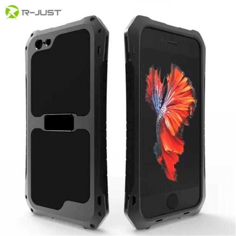 bilder für R-JUST Luxus schwere Dirt Stoßfest Leistungsstarke Metall Aluminium Schützen Abdeckungs-fälle für iPhone 6 6 S Plus 5 5 S SE Fall + Gorilla-glas