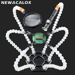 Image 2 - Newacalox 세 번째 손 납땜 pcb 홀더 도구 6 팔 돋보기 렌즈와 손을 돕는 usb 충전 미니 led 손전등