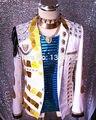 Мужчины 2017 Плюс размер Куртки белый Зеркала performance blazer верхняя одежда ds dj певица танцор тонкий куртка stage costume clothing Coat