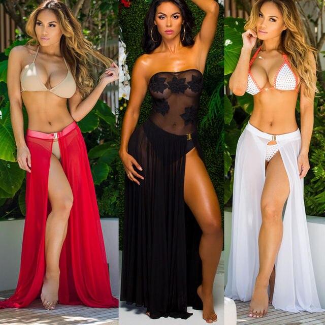 1b76e24412bb8 Swimwear Bikini Cover Up Sheer Chiffon Beach Skirts Women Solid Red Black  White high Cut Split Maxi Skirt Sarong Swimsuit L XL-in Cover-Ups from  Sports ...