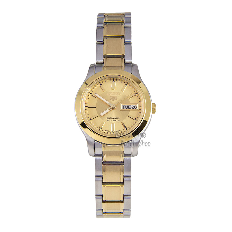 SEIKO Shield No 5 Dual color stainless steel automatic machinery female watch double calendar gold dial