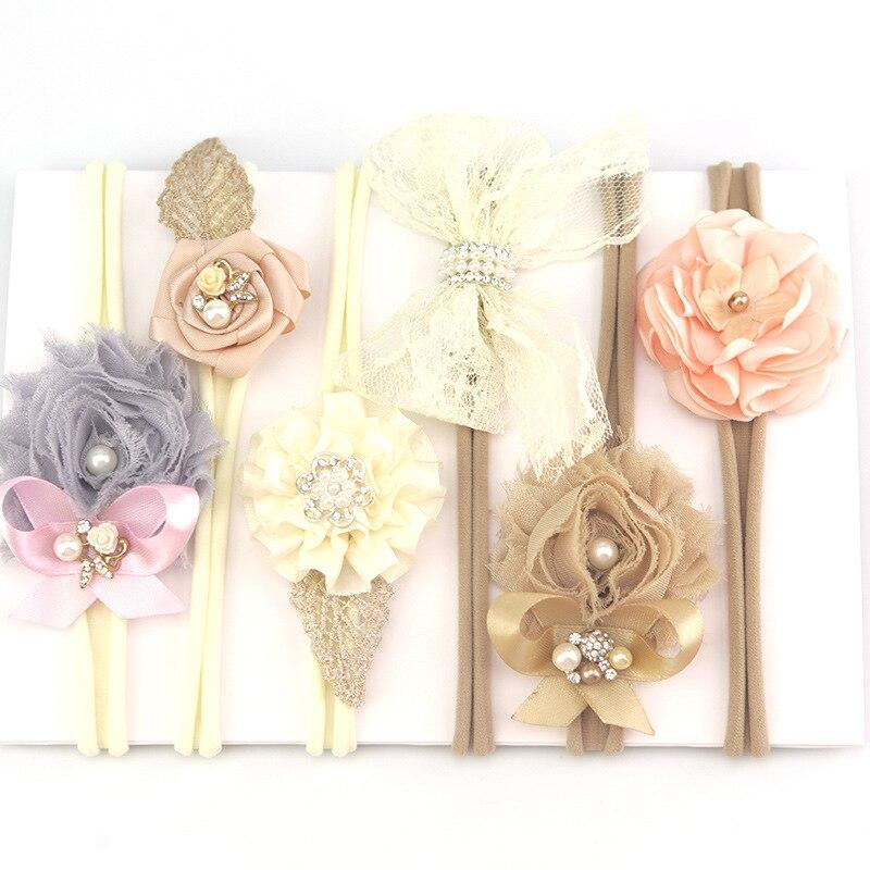 DIY 3PCS Lot Baby Girls Flower Pearl Headband Corsage Ribbon Bow No Clip