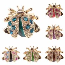 1Pcs Small Ladybird Brooches Colorful Crystal Rhinestones Brooch Pins For Women Girls Lapel Pin Jeans Shirt Jewelry Gift(China)