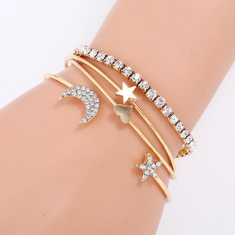 bangle set bracelets for women carter love bracelet summer jewelry rhinestone star moon heart cuff bracelet pulseira feminina