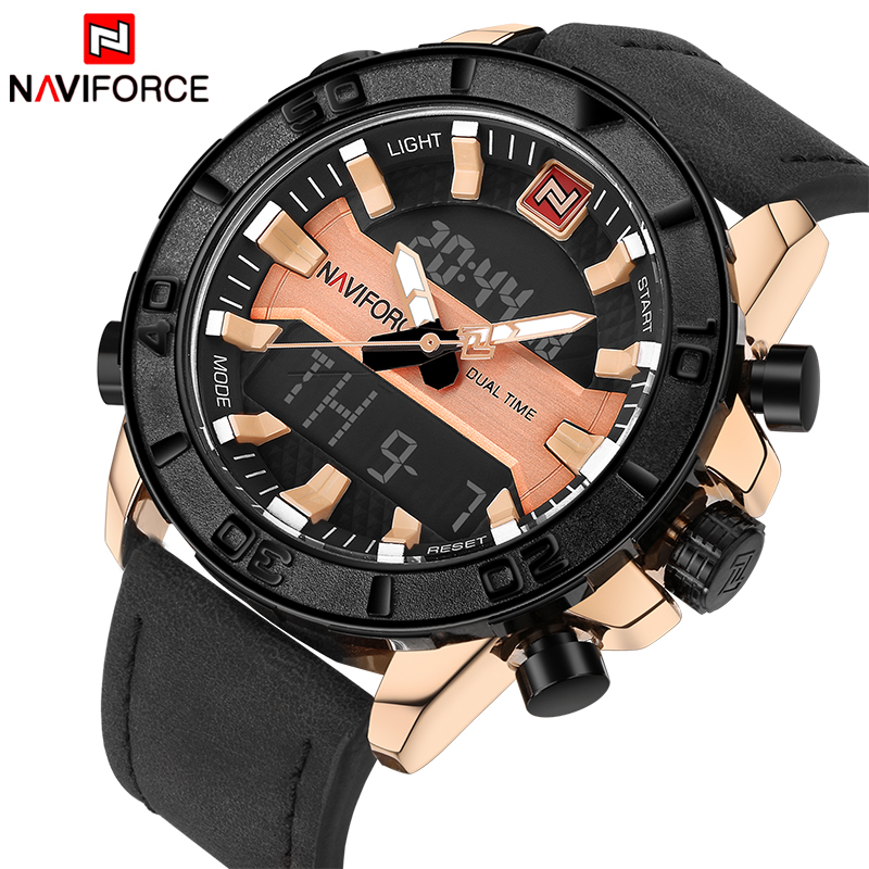 2017 NAVIFORCE Luxury Brand Men Fashion Sports Watches Men's Waterproof Quartz Date Clock Man Leather Army Military Wrist Watch 2016 men s brand naviforce fashion sports watches men 3d dial quartz watch man nylon strap army military wrist watches
