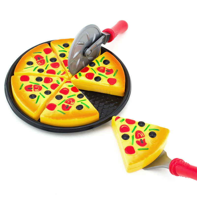 6PCS Kids Baby Pizza Party Slices Toppings Pretend Dinner Kitchen Play Food Toys Cooking Cutting Pretend Play Set Toy Gift Child