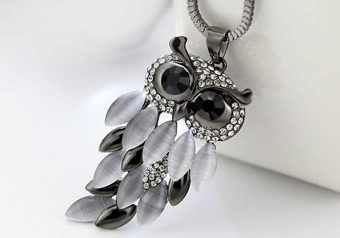 ZA MX0136 nuevo COLLAR COLGANTE de moda piedra negra Transferencia de cristal de amor de la suerte Aniaml búho joyería collares pedantes