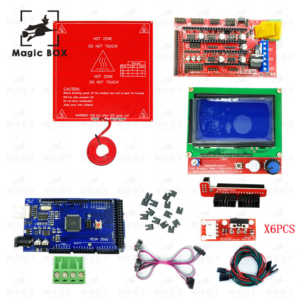 CNC 3D Printer parts Kit RAMPS 1.4 Controller + LCD 12864 + 6 Mechanical Limit Switch Endstop+ Mega 2560 R3 + Heated Bed MK2B hailangniao cnc 3d printer kit for mega 2560 r3 ramps 1 4 controller lcd 12864 6 limit switch endstop 5 a4988 stepper