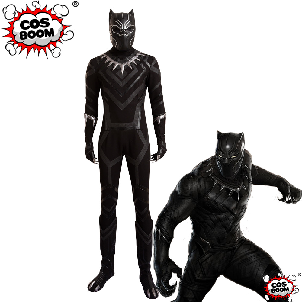 COSBOOM Captain America 3 Civil War Black Panther T'Challa Costume Superhero Jumpsuit Halloween Black Panther Cosplay Costume