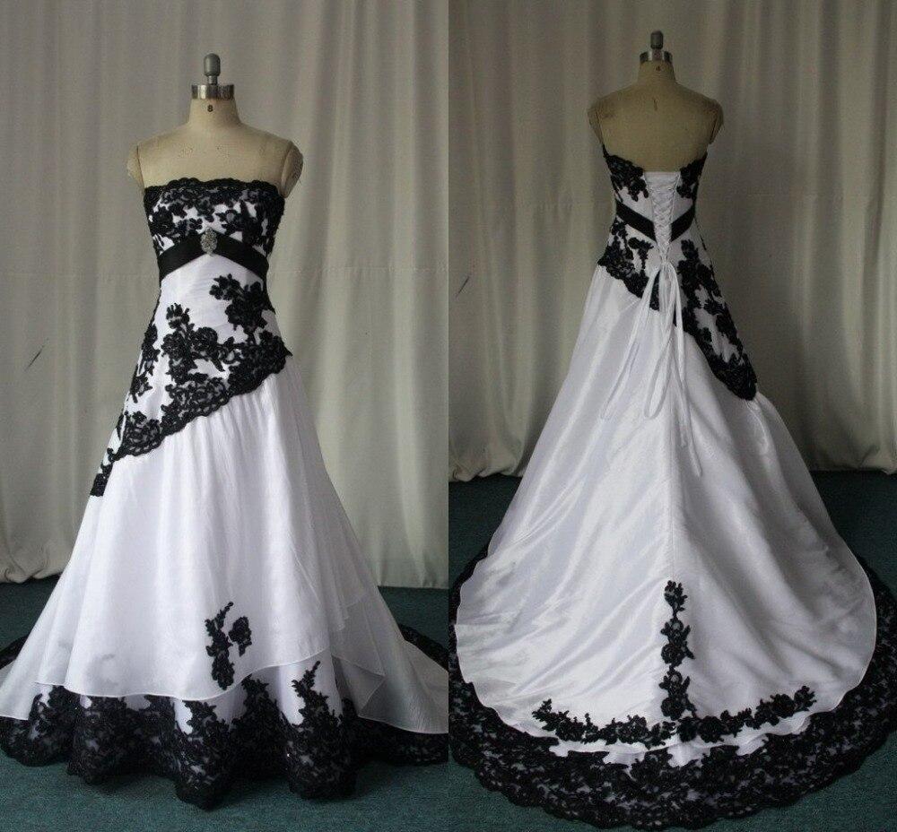 black and white gothic wedding dress real images strapless lace appliques vestidos de novia custom made