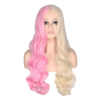 QQXCAIW Women Long Wavy Wigs Purple Black Pink and Blonde Middle Part Heat Resistant Hair Synthetic Wig