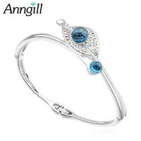 New Top Quality Crystals From Swarovski Bracelets Bangles Women Leaf Bangles Wedding Jewelry Bijouterie Valentine S