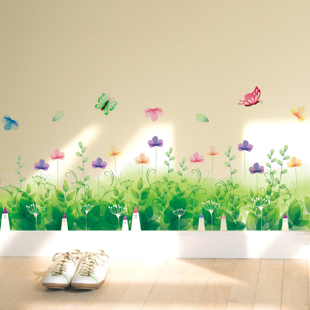 Green Pea Flowers Plants Border Wallpaper Rooms Restaurant Home Decor Waterproof Stove Tile Wall Decals Baseboard