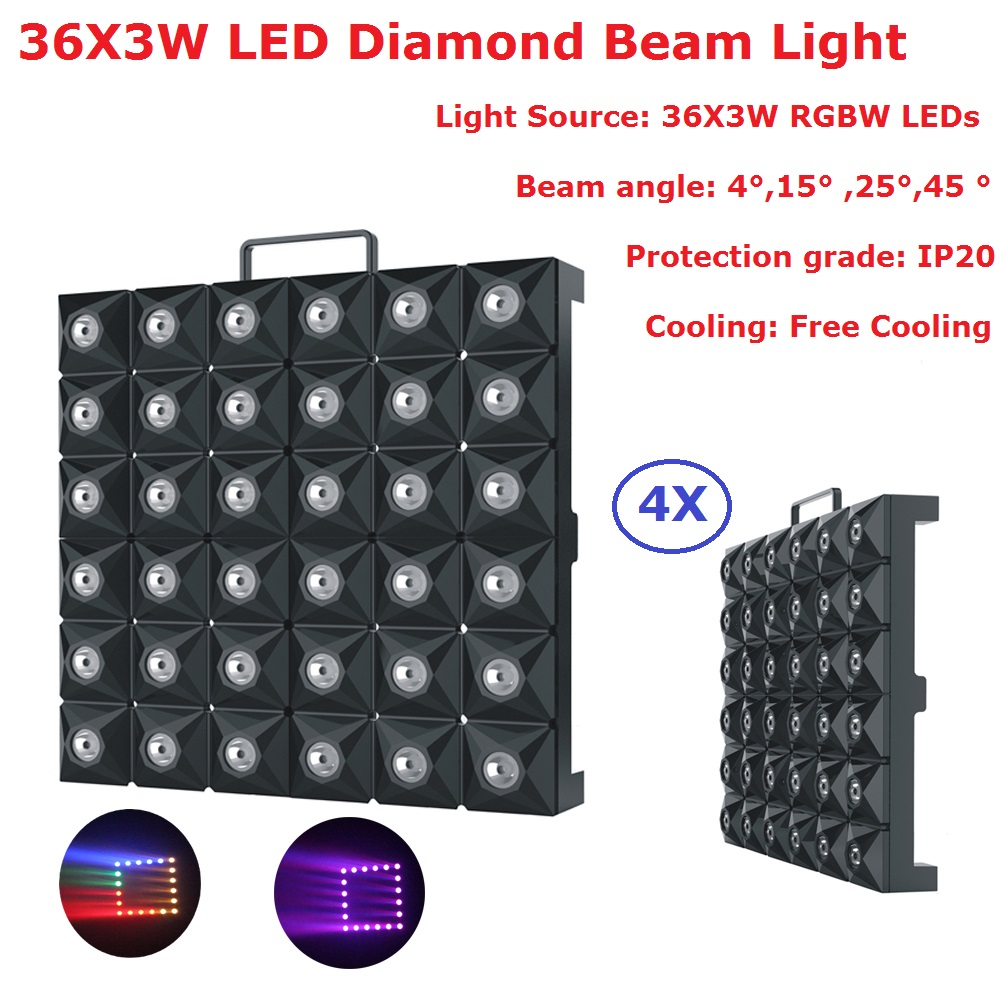 Carton Package 4XLot LED Matrix Beam Lights RGBW Quad Color 36X3W LED Stage Effect Disco Lights For Mobile DJ, Party, NightclubsCarton Package 4XLot LED Matrix Beam Lights RGBW Quad Color 36X3W LED Stage Effect Disco Lights For Mobile DJ, Party, Nightclubs