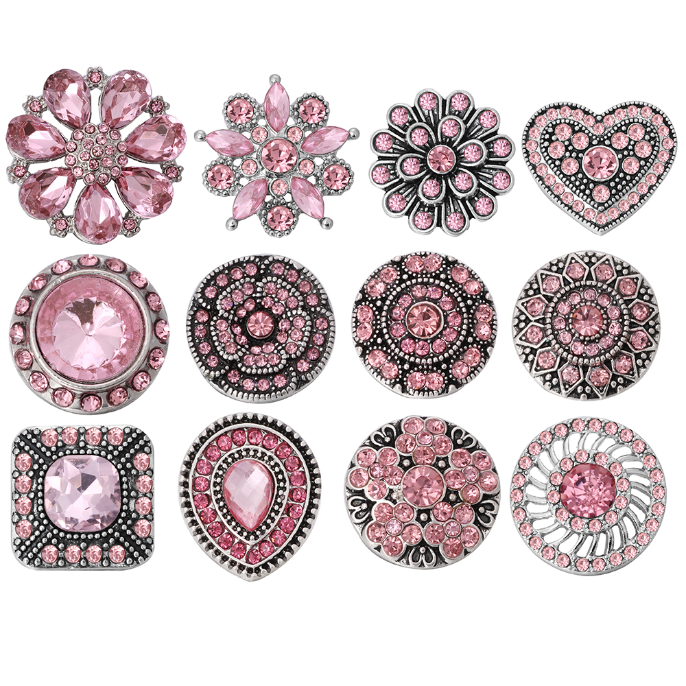 10pcs/lot Mixed Pink Rhinestone Flower Styles Metal Charms 18mm 20mm Snap Button Jewelry For Snaps Bracelet DIY Snap Jewelry