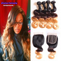 meches bresilienne lots avec closure cheap virgin hair with closure 4 bundle ombre 1b/4/27 lace closure Brazilian human hair