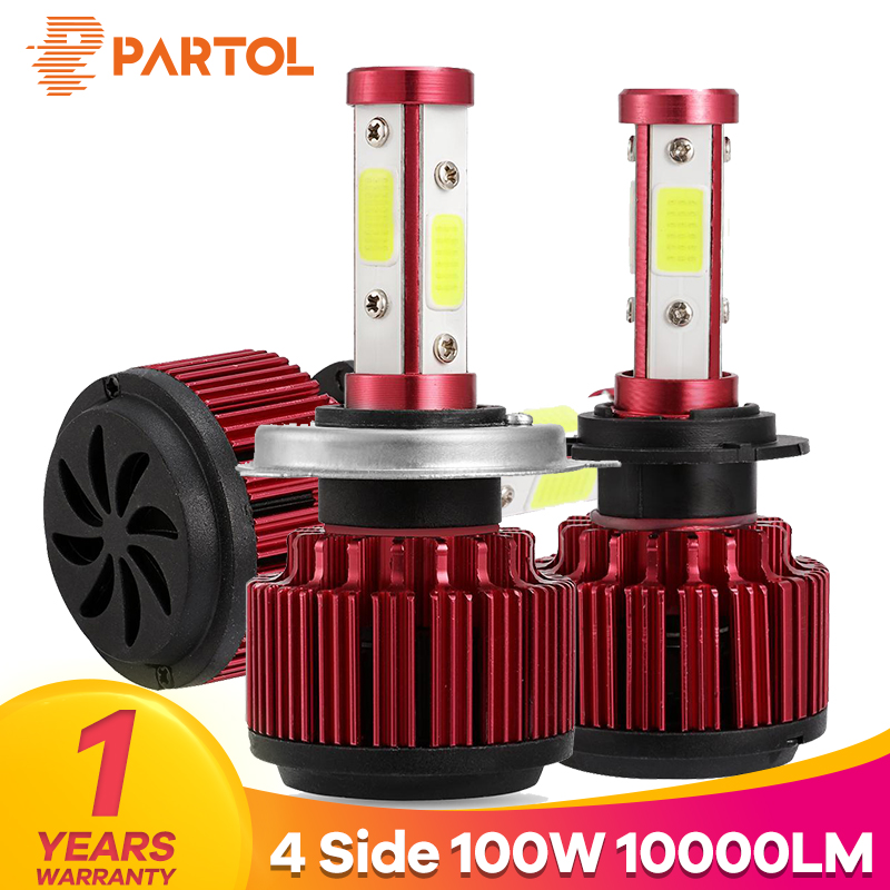 Partol New 4 Side Lumens 100W 10000LM LED H4 Hi Lo Car LED Headlight Bulbs COB LED H7 H11 9005 9006 9012 5202 Auto LED Headlamp