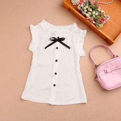 Новый Лето 2017 г. шифон Белый детский топы для девочек и блузки короткий рукав лук для подростков школьная Блуза для девочек рубашка Дети JW1785