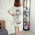 Black White Chiffon Shirt Women 2016 Summer Casual Character Printed Knitting Patchwork Ladies Tops blusas chemise femme C61