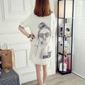 Negro Blanco Camisa de Gasa Mujeres 2016 Verano Ocasional Carácter Impreso Knitting Patchwork Ladies Tops blusas chemise femme C61