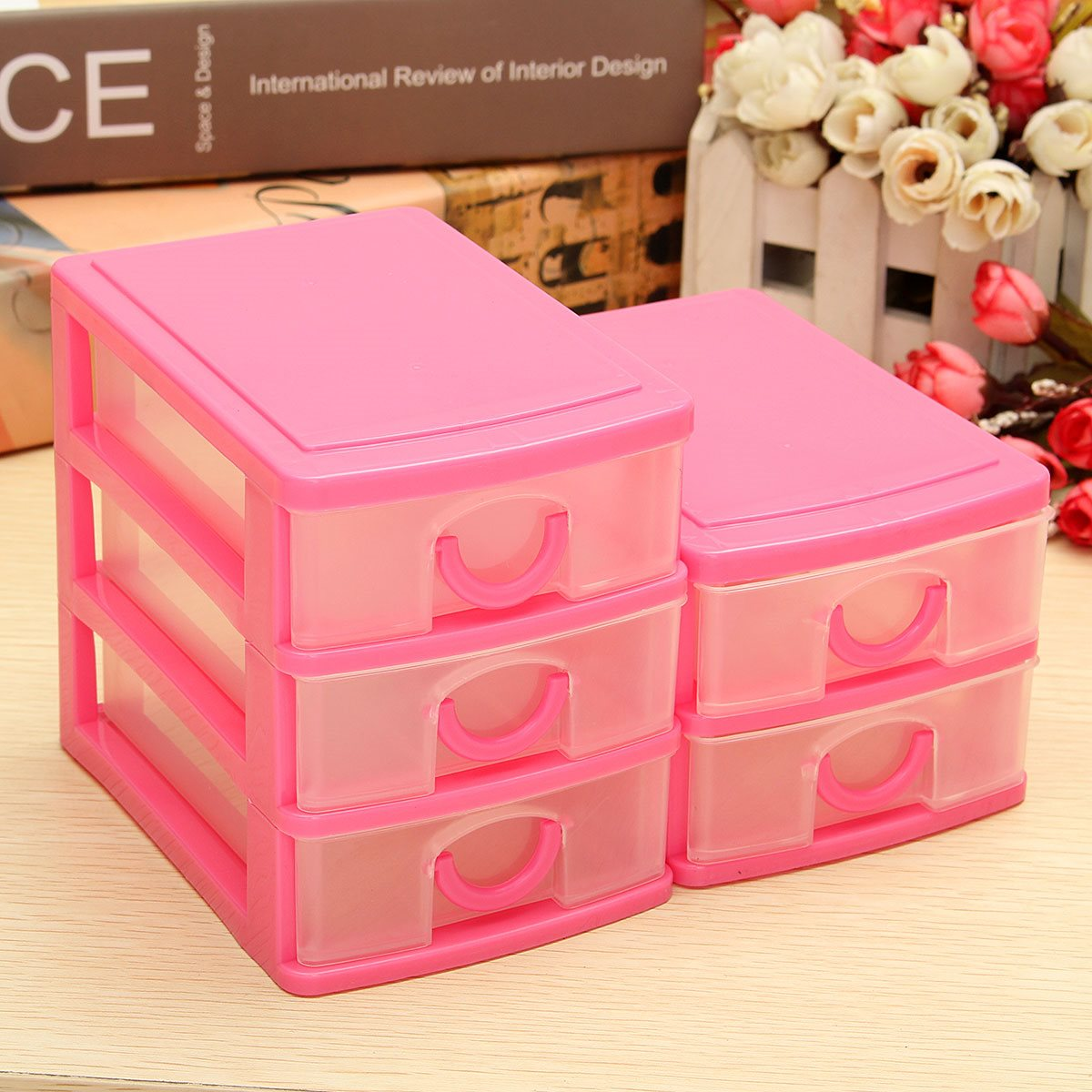 Plastic craft storage boxes - Sundries Drawer 2 3 Layer Mini Desk Storage Box Office Organiser Trays Jewellery Necklace Earring Ring Craft Box