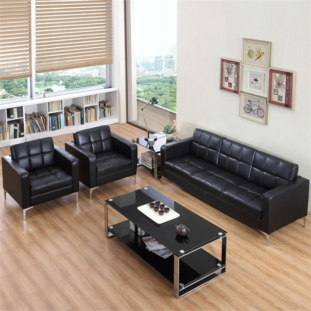 Office Sofa Commercial Furniture Office Furniture Office Hotel Coffee Shop  Sofa PU Three Pieces Sofa Sets