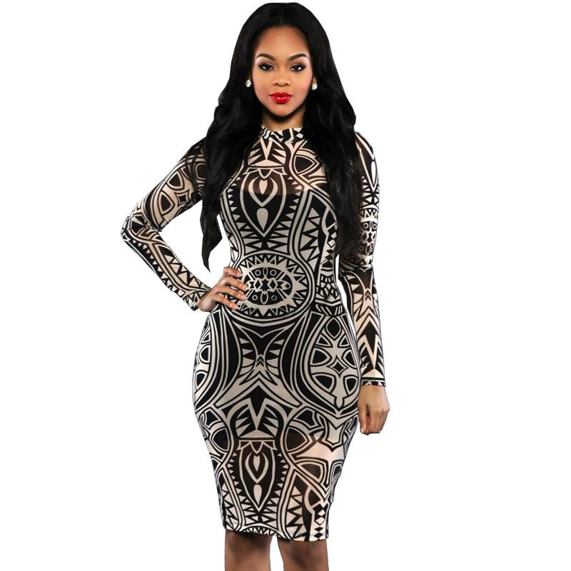 Winter Dress 2016 Sexy Women Tribal Tattoo Sheer Print Bodycon Dress Black Long Sleeve Package Hip Sheath Party Dresses S2379