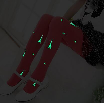 Wholesale Night Shinning Eiffel Tower pattern baby girl tights Children Korean Style Stockings Fashion Kids Pantyhose Hot Sale