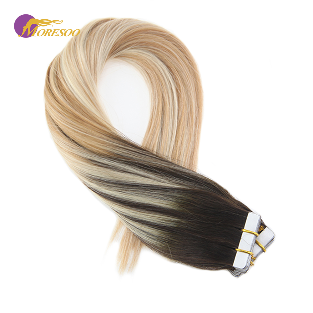 Moresoo Tape In Remy Human Hair Extensions Ombre And Balayage Color #2/27/613 Hair Extension Tape Adhesive 2.5g/pack 25g-100g