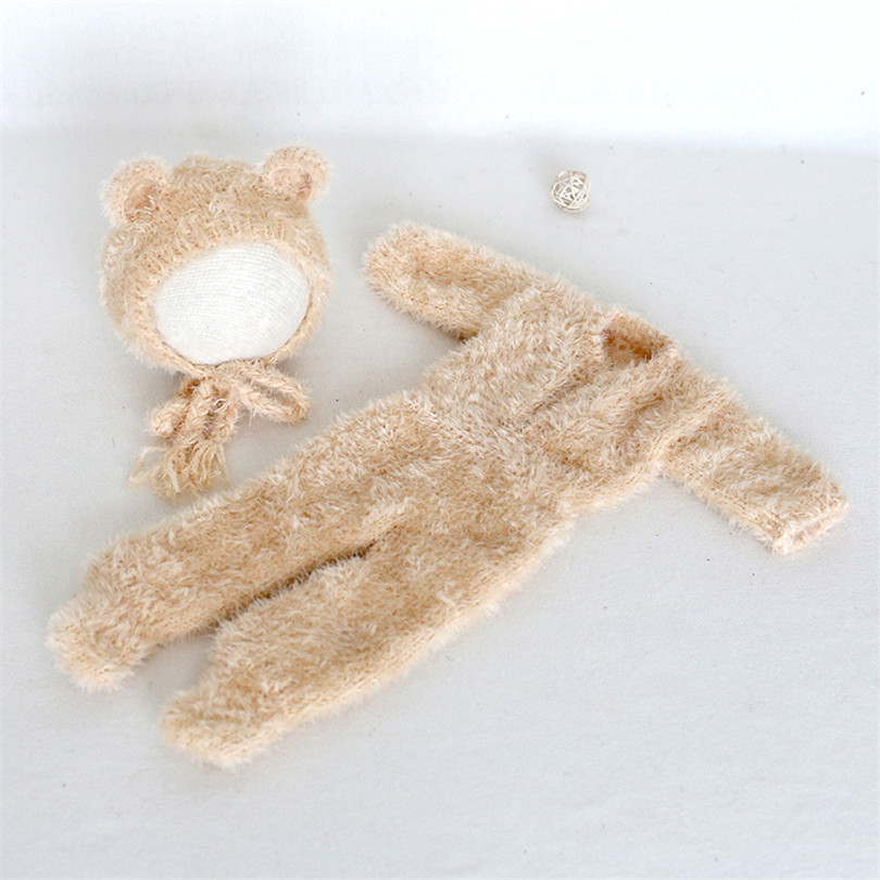 Christmas Teddy Bear Outfit  Newborn Bear romper and Bonnet set Photography props Baby Footed Overall Teddy hat photo props